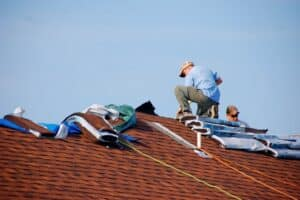 a roof repair in progress in Dayton, OH