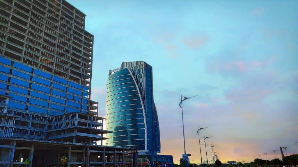 commercial buildings at dusk