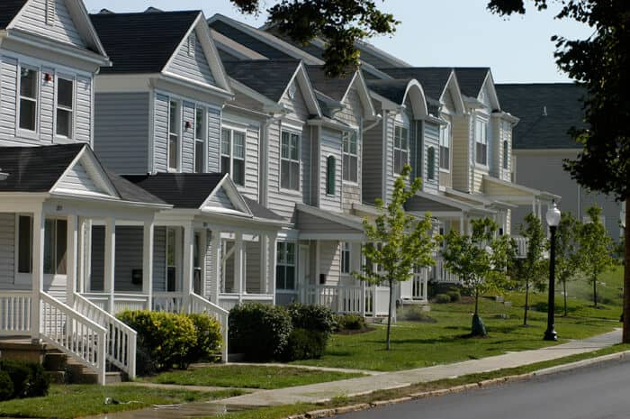 a row of homes in Dayton, Ohio